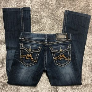 Miss Me sequin M flap back pocket size 28 boot cut